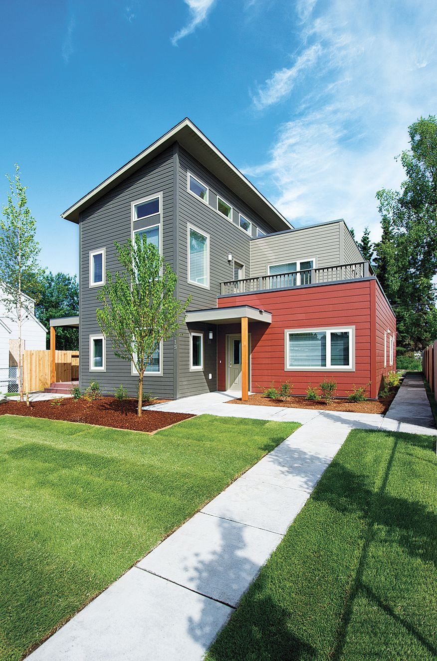 House With Fiber Cement Siding Contemporary Style