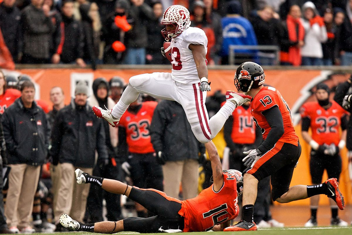 Stepfan Taylor does his best Joseph Fauria imitation in Corvallis.