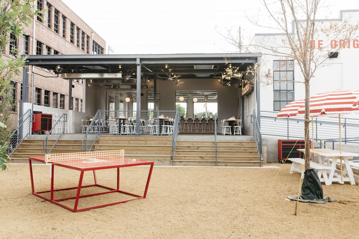 Ping-pong table and fully covered patio seating