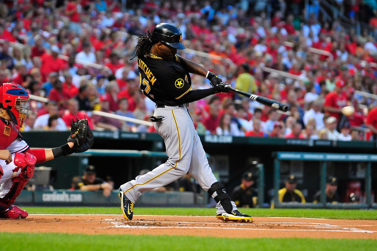 ST. LOUIS, MO - AUGUST 26: Andrew McCutchen #22 of the Pittsburgh Pirates hits a one run single against the St. Louis Cardinals at Busch Stadium on August 26, 2011 in St. Louis, Missouri.  (Photo by Jeff Curry/Getty Images)