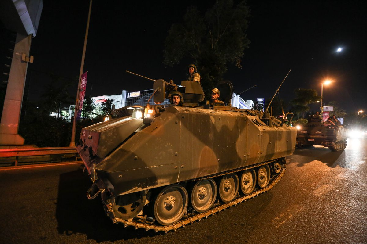 Turkish Armys APC's move in the main streets in the early morning hours of July 16, 2016 in Istanbul, Turkey.
