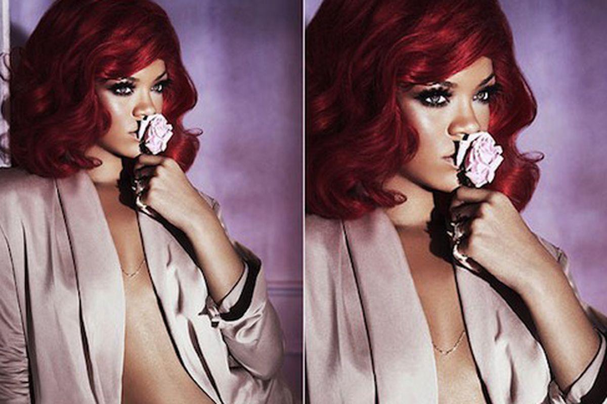 """Rihanna poses for her new fragrance ad, via <a href=""""http://revistaquem.globo.com/Revista/Quem/0,,EMI199971-8197,00.html"""">Quem</a>"""