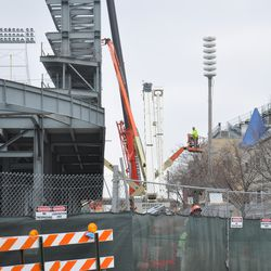 Looking west at the jumbotron structure from Waveland -