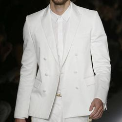 Argentine model Martin Mica, 27,  wears a creation part of the Just Cavalli women's Fall-Winter 2012-2013 collection that was presented in Milan, Italy, Friday Sept. 21, 2012.
