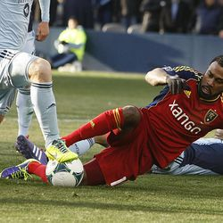 Real's Robbie Findley tries to get a foot on the ball in front of the goal as Real Salt Lake and Sporting KC play Saturday, Dec. 7, 2013 in MLS Cup action.