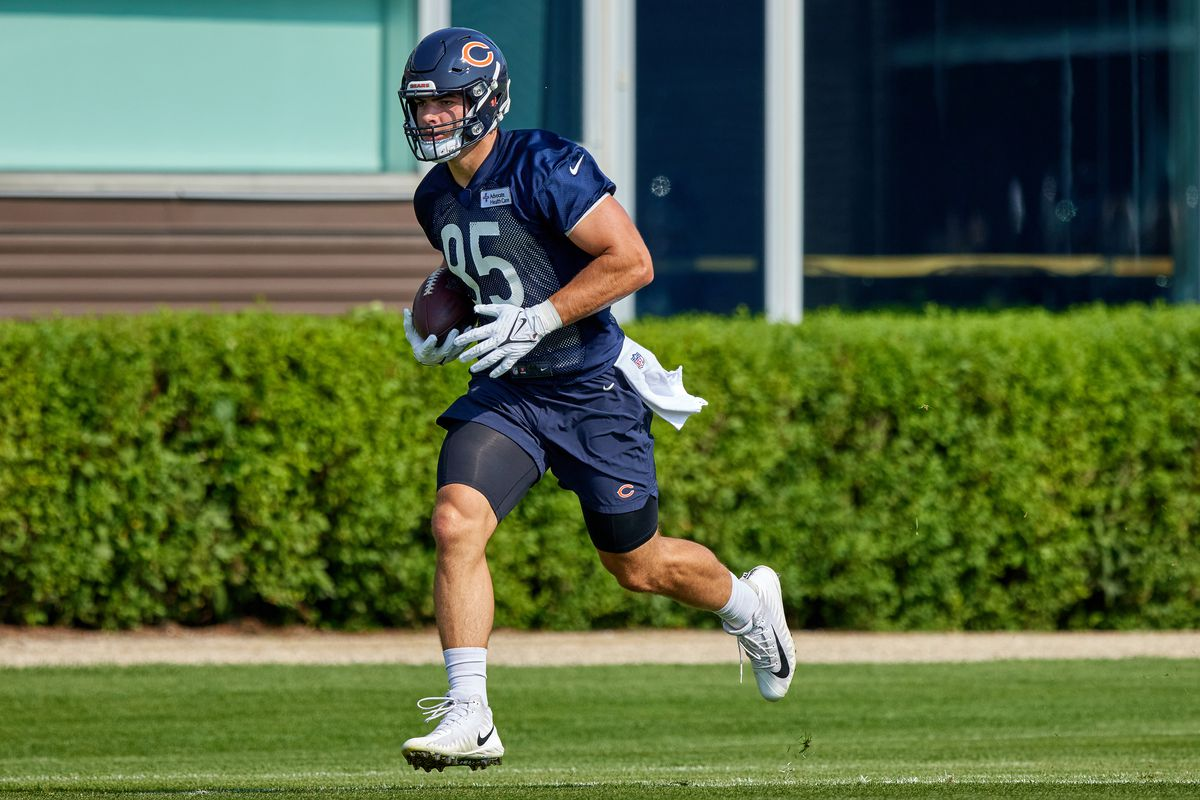 Chicago Bears tight end Cole Kmet (85) runs with the football in action during the Chicago Bears training camp on July 29, 2021 at Halas Hall in Lake Forest, IL.
