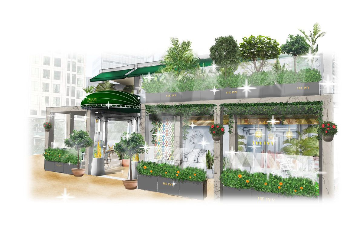 An impression of The Ivy in the Park at Canada Square Park, Canary Wharf, London. The restaurant by Richard Caring will open this autumn