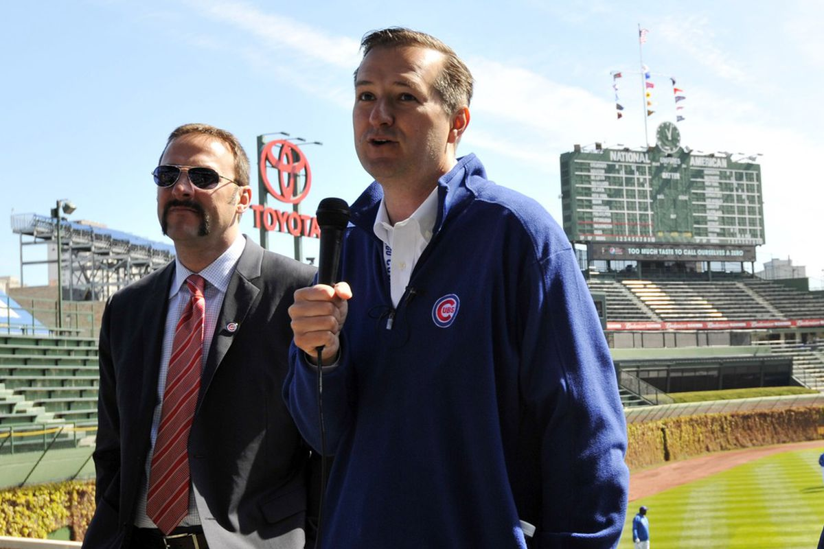 April 5, 2012; Chicago, IL, USA; Chicago Cubs owners Todd Ricketts (left) and Tom Ricketts (right)  speak before the game against the Washington Nationals on opening day at Wrigley Field.  Mandatory Credit: Rob Grabowski-US PRESSWIRE