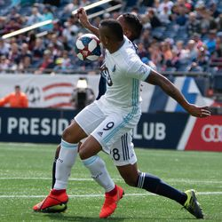 FOXBOROUGH, MA - MARCH 30: New England Revolution defender Michael Mancienne #28 uses his arm to gain control of the ball during the first half at Gillette Stadium on March 30, 2019 in Foxborough, Massachusetts. (Photo by J. Alexander Dolan - The Bent Musket)
