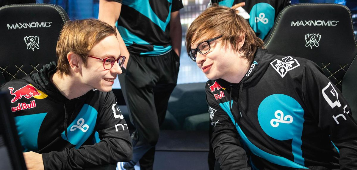 Jensen and Sneaky on stage at the League of Legends Worlds Quarter-finals