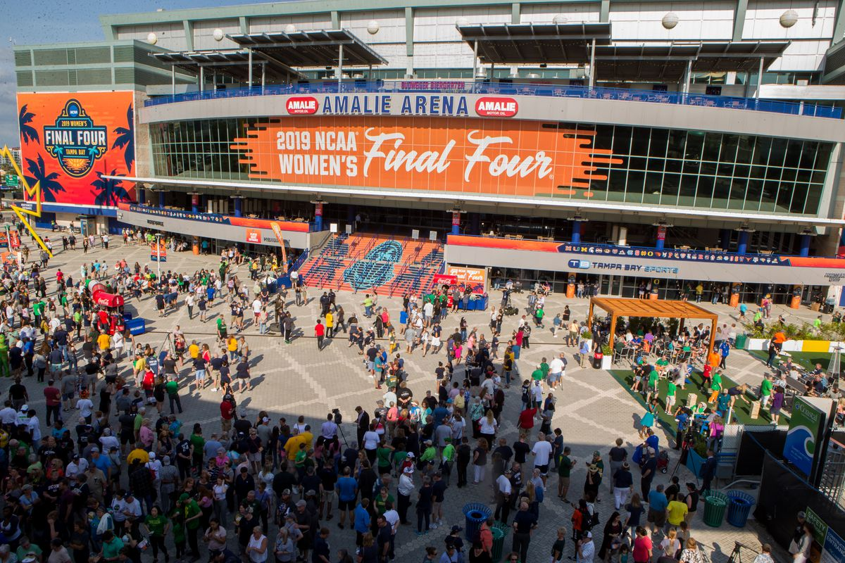 Fans mingle in Tournament Town before the 2019 NCAA Women's Division I Championship Final Four game between the Oregon Ducks and the Baylor Bears on April 05, 2019 at Amalie Arena in Tampa, FL.