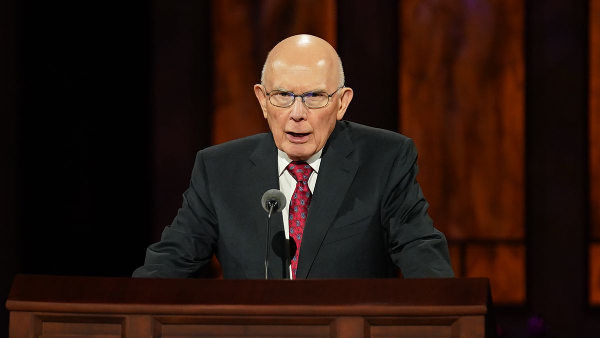 President Dallin H. Oaks, first counselor in the First Presidency, speaks during the Saturday morning session of the 190th Semiannual General Conference of The Church of Jesus Christ of Latter-day Saints on Oct. 3, 2020.