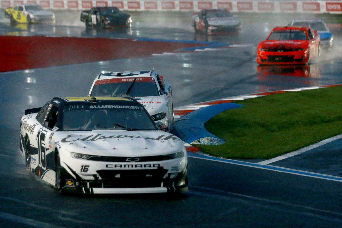 AJ Allmendinger, driver of the #16 Ellsworth Advisors Chevrolet, leads the field during the NASCAR Xfinity Series Drive for the Cure 250 presented by Blue Cross Blue Shield of North Carolina at Charlotte Motor Speedway on October 10, 2020 in Concord, North Carolina.