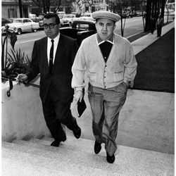 """Cardigan number three! At his arraignment in 1958. Photo via the <a href=""""http://digitallibrary.usc.edu/"""">USC Digital Library</a>."""