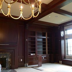 Guests and the public can grab a drink in the hotel's all-mahogany library space.