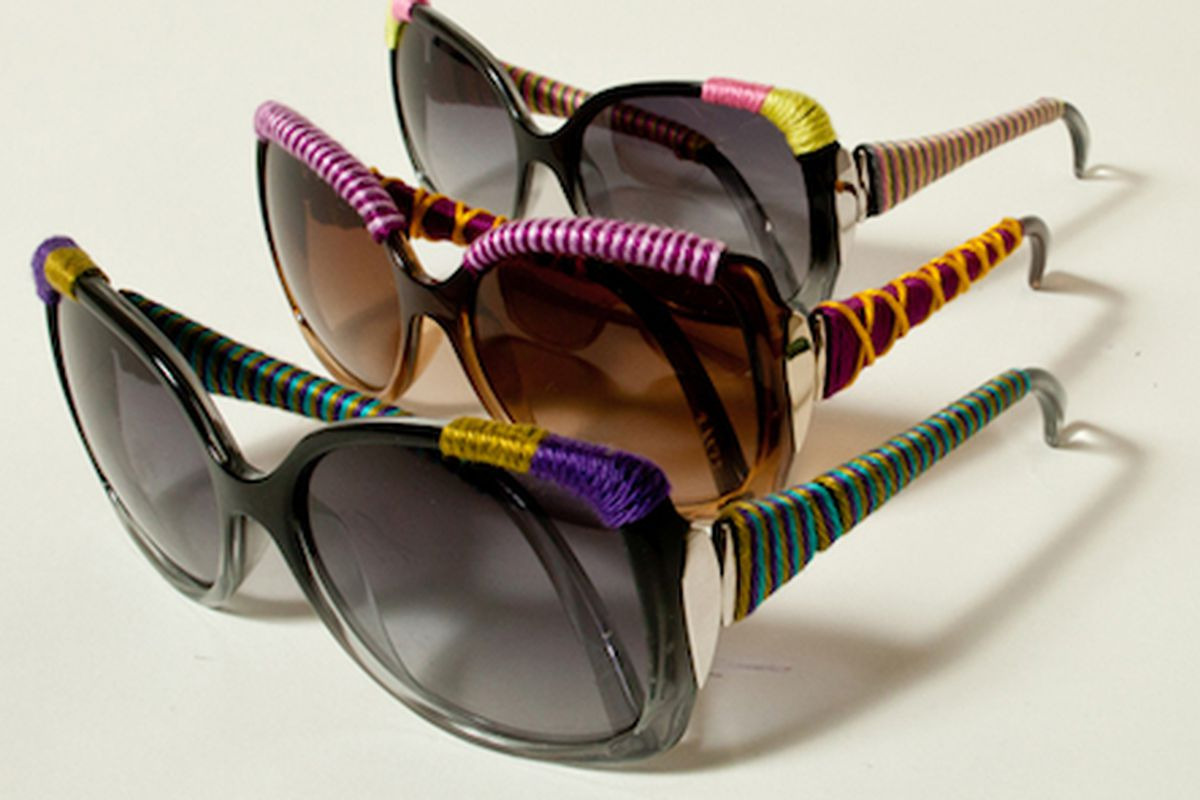 """You won't knit your brow wearing these shades. Image via <a href=""""http://www.refinery29.com/sunglass-hut-victim-of-vicious-yarn-bombing"""">Refinery29</a>"""