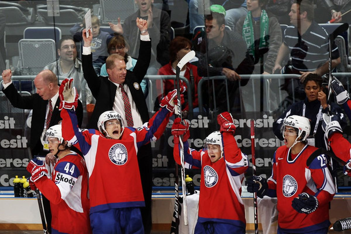 Norway hopes their celebration after yesterday's win over Switzerland wasn't in vain.  They need Canada to beat the Czechs in regulation to advance.  (Photo by Alex Grimm/Bongarts/Getty Images)