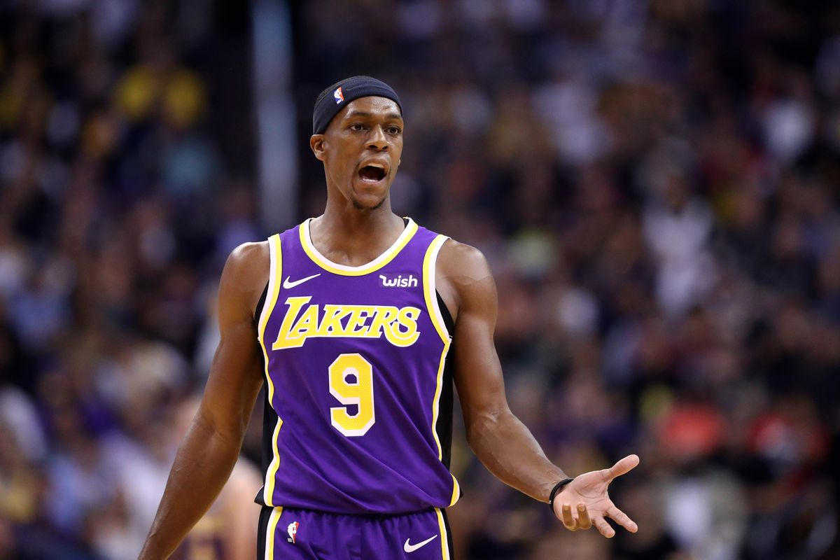 Los Angeles Lakers guard Rajon Rondo reacts against the Phoenix Suns at Talking Stick Resort Arena.