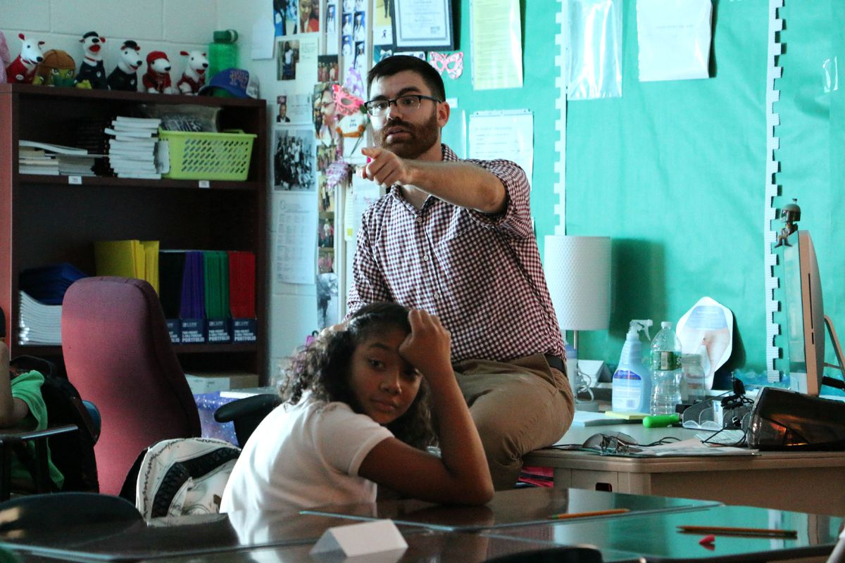 Bronx School for Young Leaders teacher Alex Corbitt tried to balance toughness and tenderness on the first day.