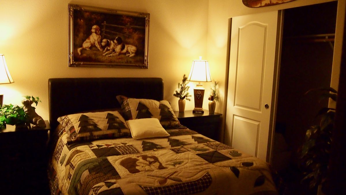 A double bed with a tree motif and a portrait of dogs hanging above