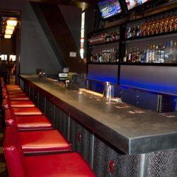 Bar stools and the bar at Rock Bar.