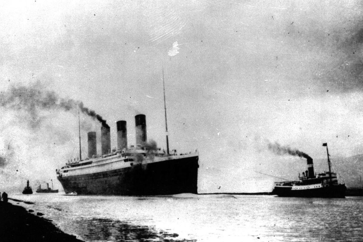 FILE - In this April 10, 1912 file photo, the luxury liner Titanic departs Southampton, England, prior to her maiden Atlantic voyage en route to New York City. As the Titanic was sinking in the North Atlantic on the night of April 14-15, 1912, its more th