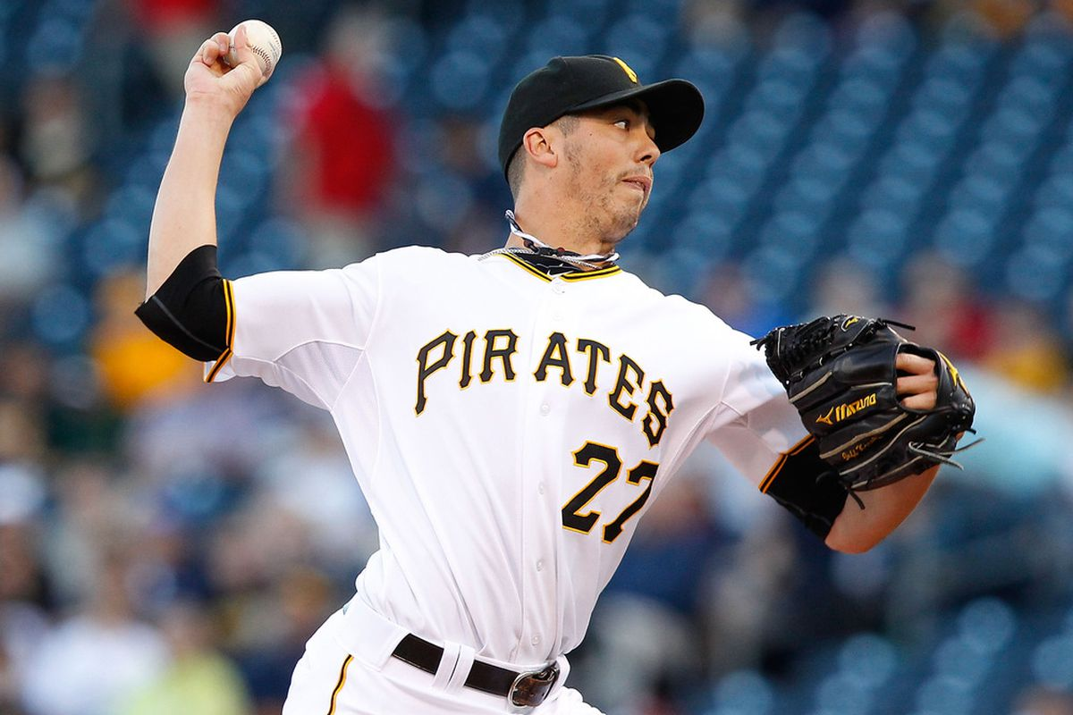 PITTSBURGH - MAY 09:  Jeff Karstens #27 of the Pittsburgh Pirates pitches against the Los Angeles Dodgers during the game on May 9, 2011 at PNC Park in Pittsburgh, Pennsylvania.  (Photo by Jared Wickerham/Getty Images)