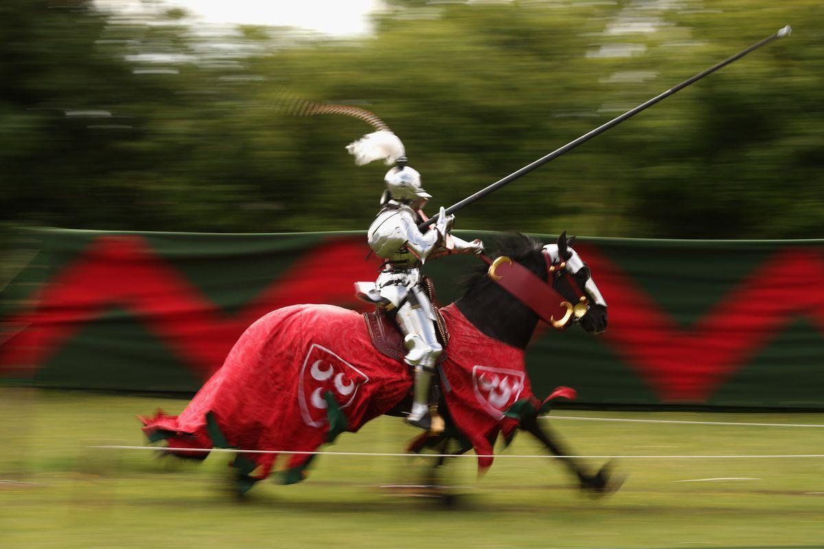 Jousting Knights Re-enact Medieval Scenes
