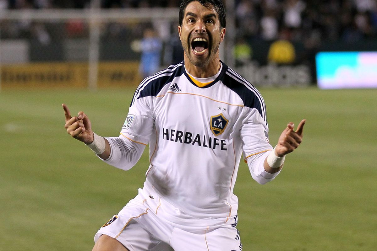 CARSON, CA - MAY 14:  Juan Pablo Angel #9 of the Los Angeles Galaxy celebrates after scoring a goal against Sporting Kansas City at The Home Depot Center on May 14, 2011 in Carson, California.  Galaxy won 4-1.  (Photo by Stephen Dunn/Getty Images)