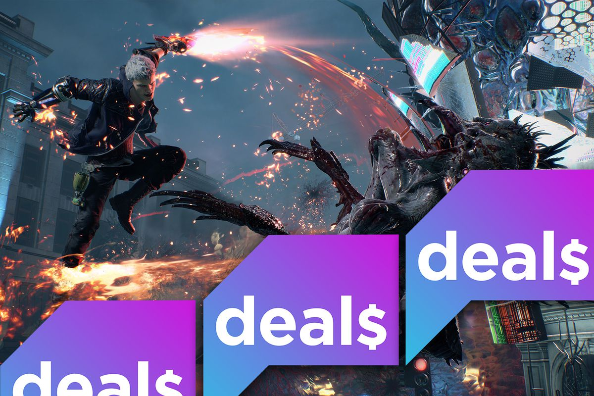 Devil May Cry 5 screenshot with Polygon Deals logo
