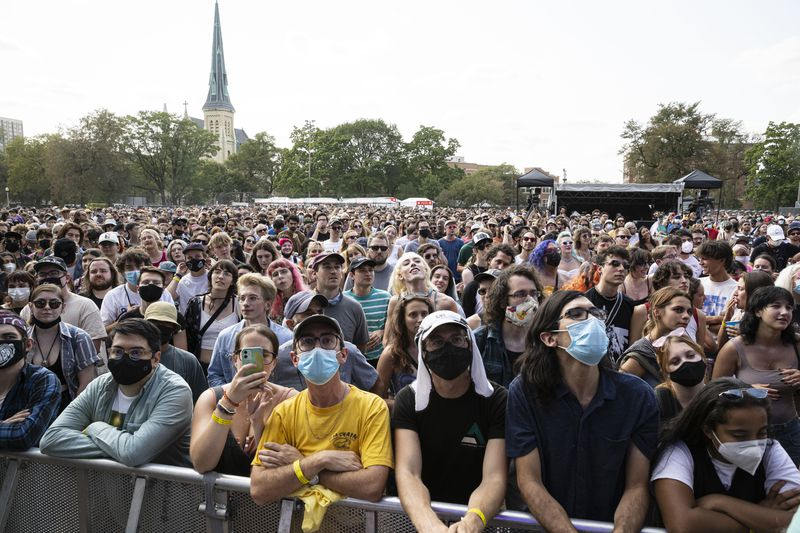 Masks are visible throughout the crowd as fans watch DEHD perform on Day 1 of the Pitchfork Music Festival, Friday, Sept. 10, 2021.