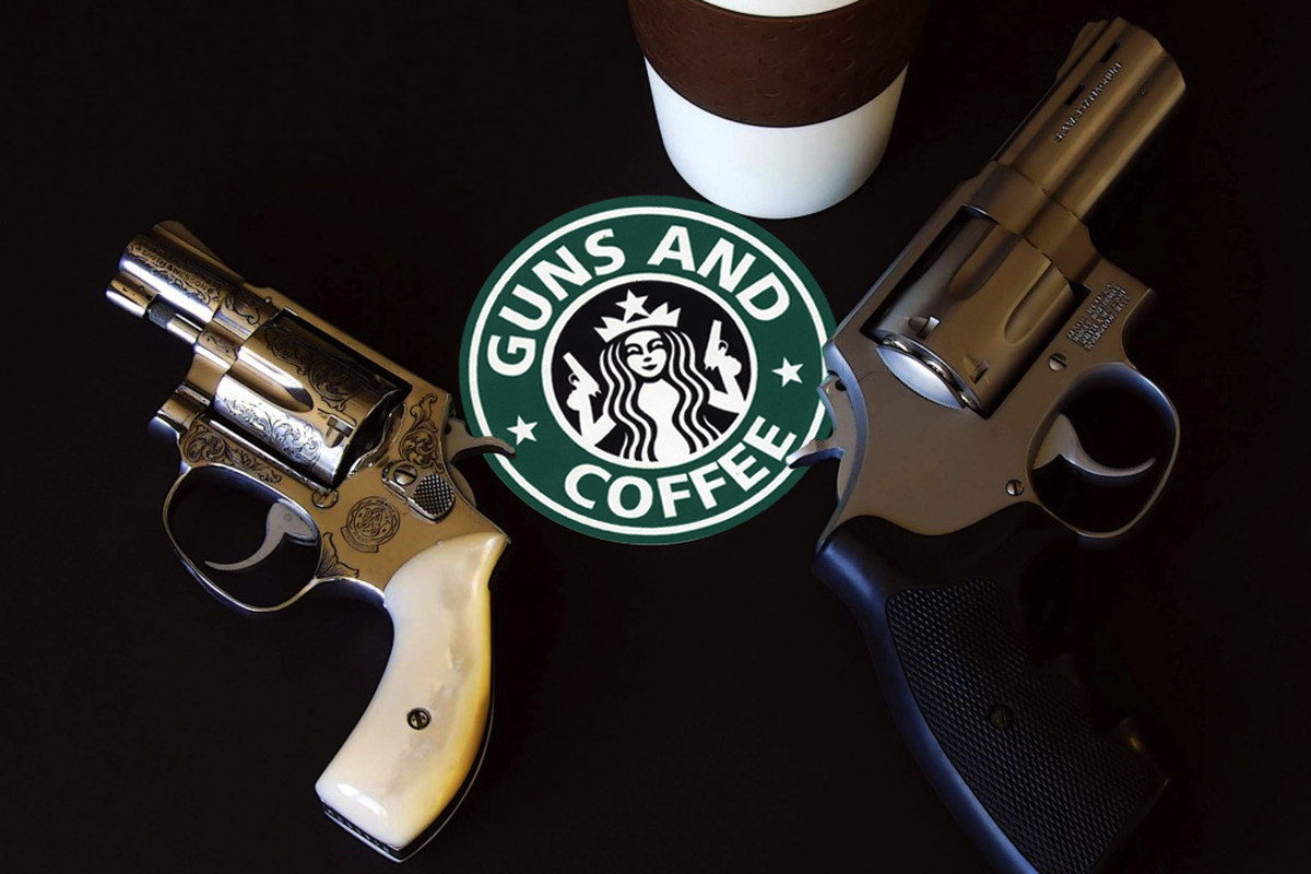 Guns & Coffee (FLICKR) http://www.flickr.com/photos/stickergiant/5450962483/sizes/z/in/photolist-9iFBeM-7UEr7o-exXRQJ-fqUN3Y/