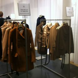 The pristine camel display coats. It's a different story at the for-sale racks.