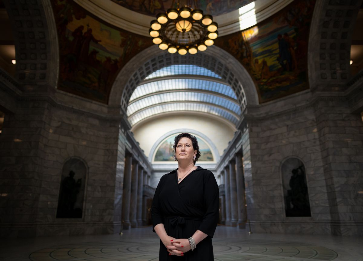 Sharon Weeks poses for a portrait at the Capitol in Salt Lake City on Wednesday, Sept. 15, 2021. Weeks' sister, Brenda Lafferty, and Brenda's 15-month-old daughter, Erica, were killed by brothers Ron and Dan Lafferty, Brenda's brothers-in-law, in 1984.