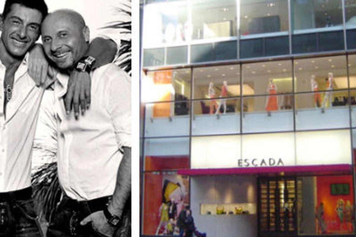 "Domenico Dolce and Steffano Gabbana image via <a href=""http://www.kokoroyale.com/fashion/profiles/dolce-and-gabbana-handbags-erase-the-sexist-controversy/"">Koko Royale</a>, Escada storefront image via <a href=""http://www.fashiontraveler.com/shopsusa"