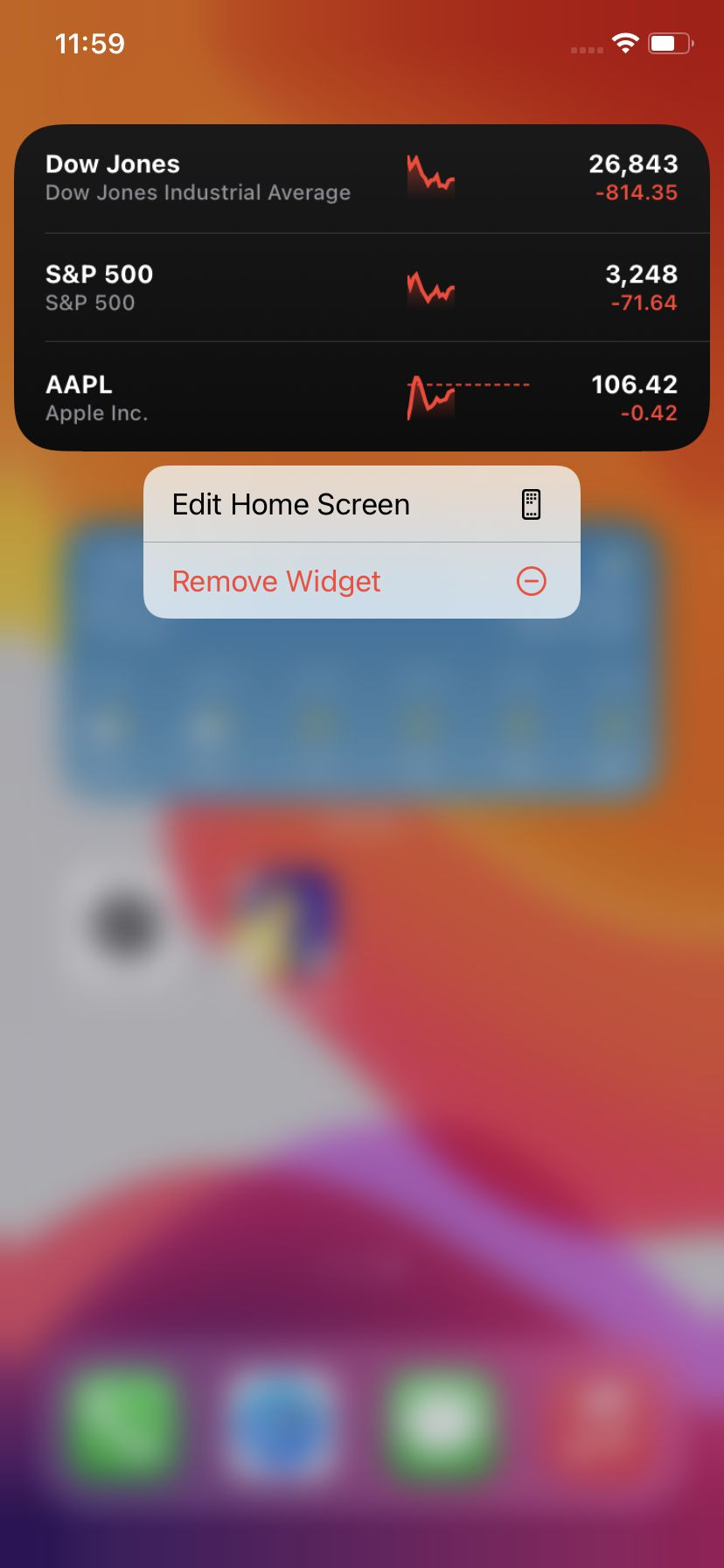 Long press on a widget to remove it.
