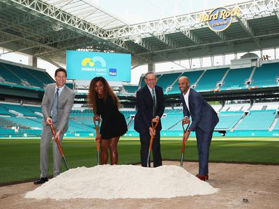 Mark Sharpiro WME/IMG Co-President, Serena Williams, Stephen Ross, Miami Dolphins owner and James Blake, Tournament Director pose for a photograph at the ground breaking ceremony