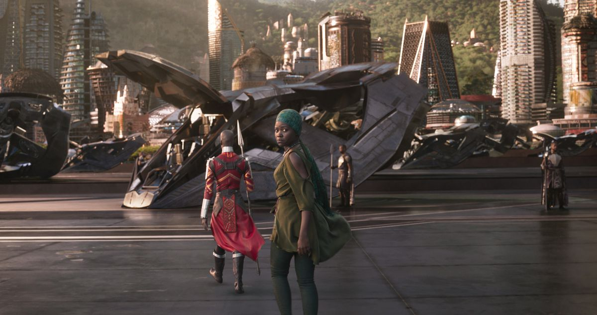 A still from the film Black Panther showing the city of Wakanda.