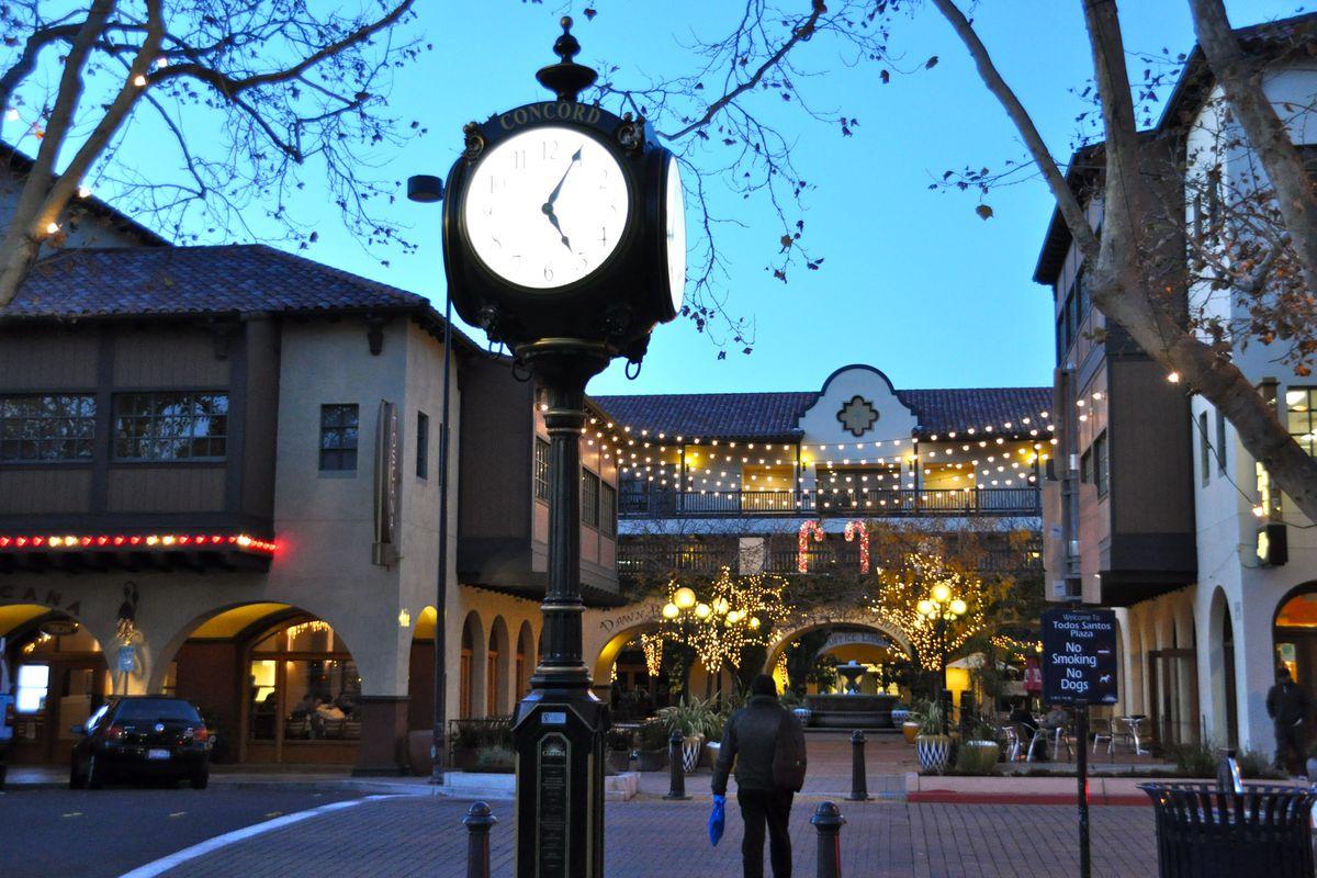 The clock in Concord town square.