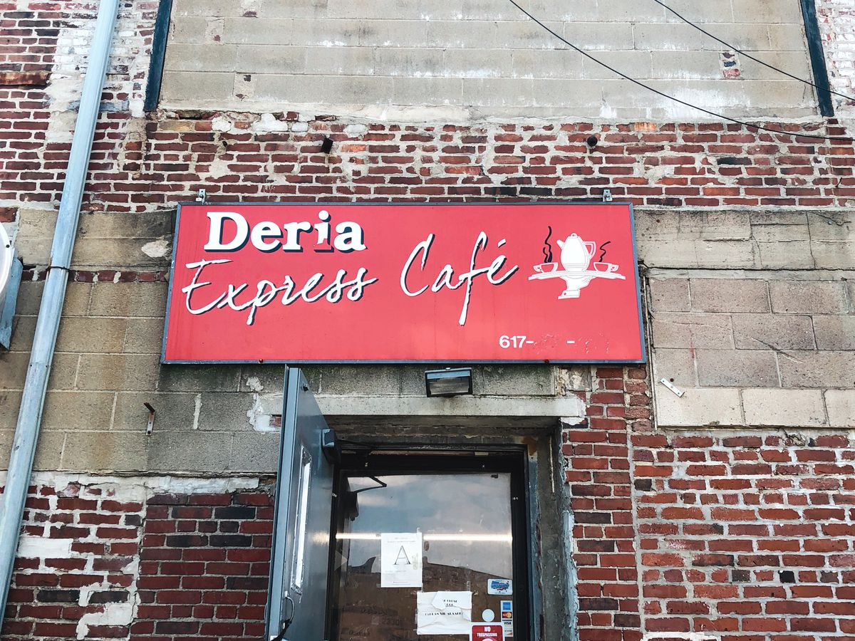 The sign outside Deria Express Cafe in Dudley Square