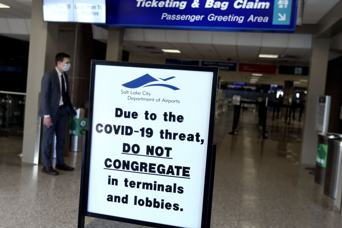 """The security line is empty at the Salt Lake City International Airport on Wednesday, April 8, 2020. Utah Gov. Gary Herbert announced new efforts on Wednesday """"to protect the people of Utah and slow the spread of coronavirus in the state"""" by closely monitoring its borders, as well as passengers who fly into the Salt Lake International Airport."""