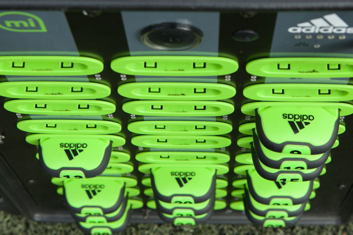 The Adidas miCoach device plugs into the back of players' training shirts during workouts.