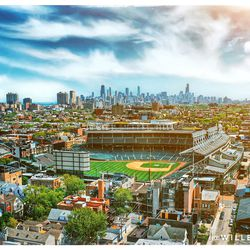 Wrigley Field and Chicago from the air in May