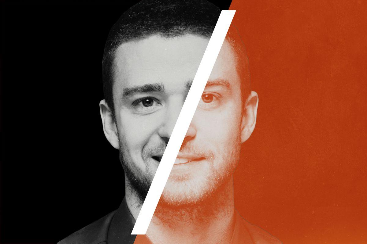 Justin Timberlake with a white slash running diagonally through the portrait