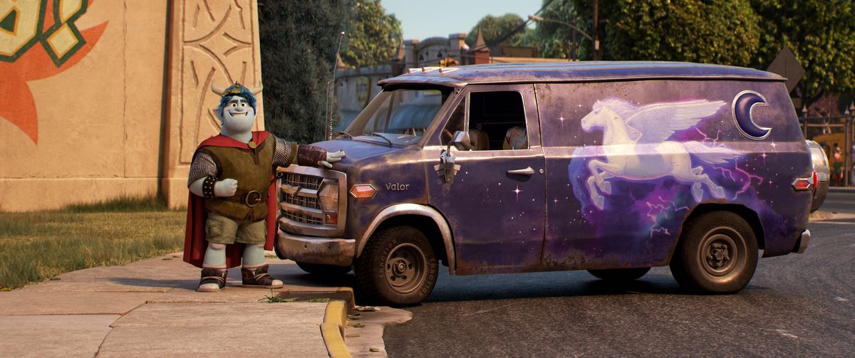 A widely grinning, stout blue-skinned and blue-haired elf stands with his hand proudly on the hood of a rusty purple van with a crescent-moon-shaped side window and a flying pegasus painted on the side.