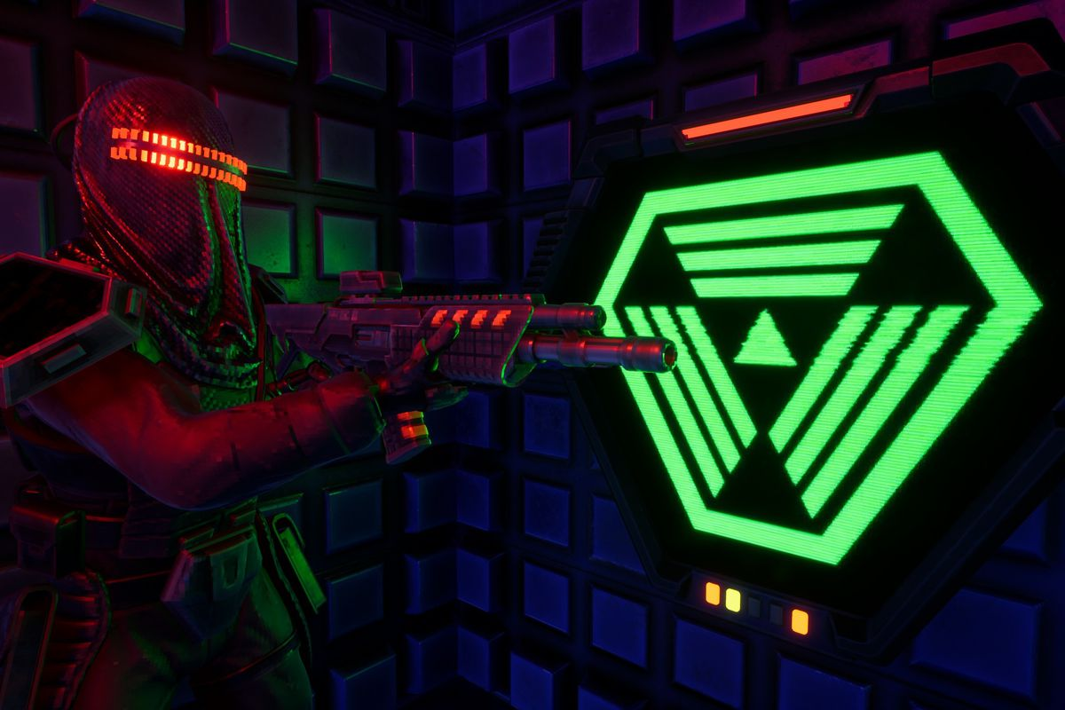 A hooded figure holds a gun, backlit by a neon sign