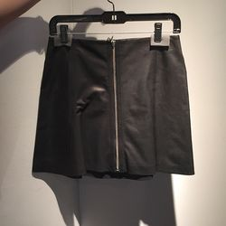 Zip front leather miniskirt, $250 (was $595)