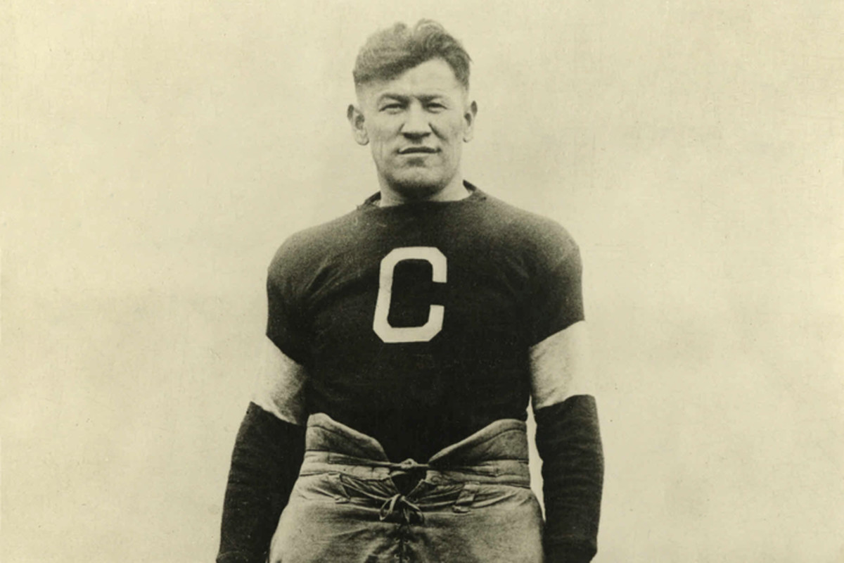 Jim Thorpe with the Canton Bulldogs of the Ohio League and later of the National Football League   Photo is from the late 1910s or early 1920s