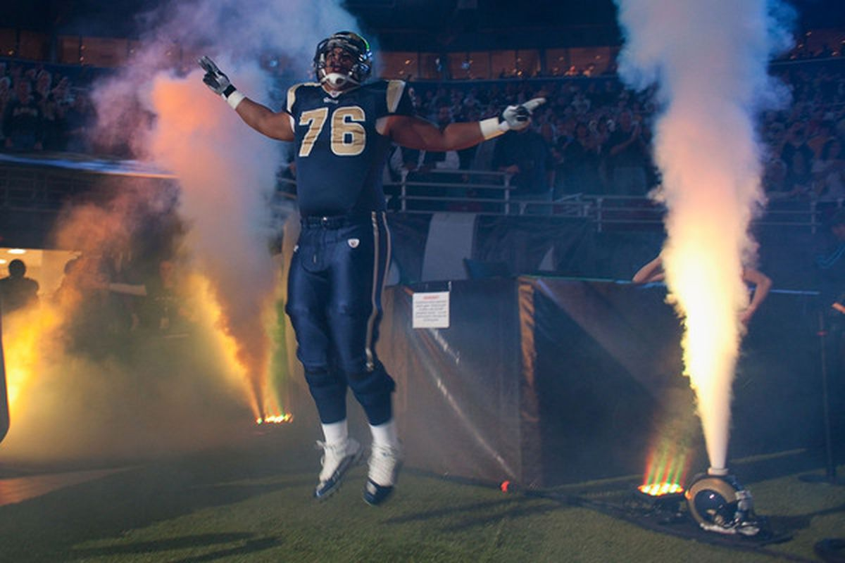 Rodger Saffold of the St. Louis Rams is introduced prior to the Falcons game. Saffold's shoulder is sore, but will not keep him out of action next week.