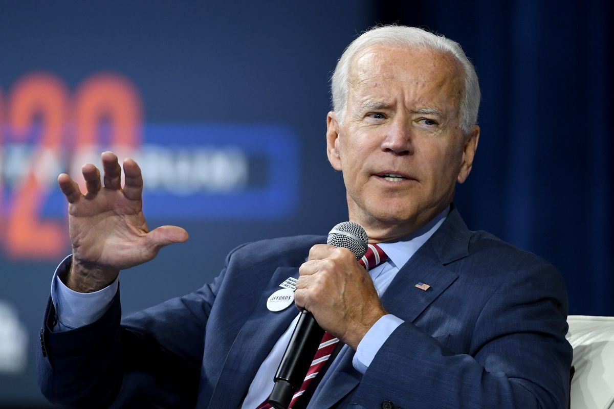 Former Vice President Joe Biden attends the 2020 Gun Safety Forum, hosted by gun control activist groups Giffords and March for Our Lives.